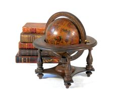Vintage Italian Old World Globe with Stand Signs of the Zodiac