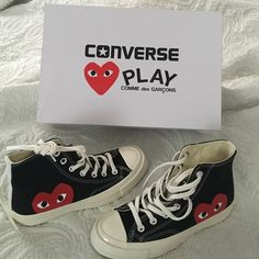 Converse Play COMME des GARÇONS * NEVER WORN! Authentic black high top COMME des GARÇONS * by Converse ! No marks, scuffs, or wear ! GUARANTEED! Selling because they don't fit. Comme des Garcons Shoes Sneakers