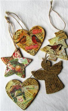 Easy! Turn wood shapes into Mixed media Christmas ornaments. By KittyNL