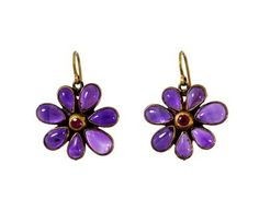 Judy Geib | Amethyst and Ruby Flower Earrings in New Earrings at TWISTonline
