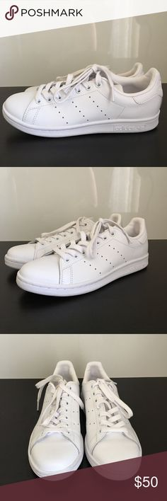MENS ADIDAS STAN SMITH SNEAKERS SZ 6 EXCELLENT PREOWNED CONDITION   WORN TWICE  ADIDAS STAN SMITH SNEAKERS   SIZE 6 (SIZE 8 IN WOMENS)   COLOR ALL WHITE   SHOES ONLY NO BOX  SMOKE FREE AND PET FREE HOME adidas Shoes Sneakers
