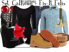 """""""Sgt. Calhoun + Fix-It Felix"""" by lalakay on Polyvore"""