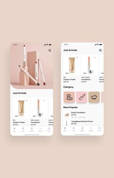 Cosmo Beauty App UI Kit is a pack of delicate UI design screen templates that will help you to design clear interfaces for beauty / cosmetic shopping app faster and easier. Compatible with Sketch App, Figma & Adobe XD Ios App Design, Web Design, Mobile App Design, Interface Design, Design Trends, Ui Design Tutorial, Ui Elements, Cosmetic Web, Ui Kit