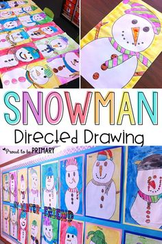 Complete this step by step snowman drawing art activity with a classroom. Teachers can help their students learn to draw and paint.