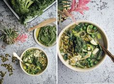 Green Minestrone with Kale Pistachio pesto : sub out pasta with potatoes
