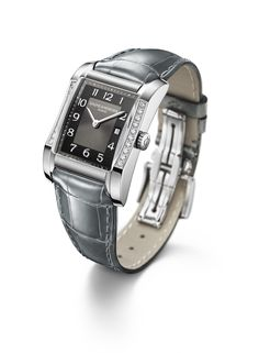 Adorn your #Hampton 10022 #diamond-set watch with a teal grey alligator strap. Available at Hingham Jewelers!