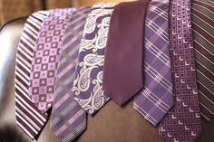 Mismatched groomsmen ties/solid color for groom Mismatched Groomsmen, Bridesmaids And Groomsmen, Groom And Groomsmen, Bridesmaid Dresses, Purple Groomsmen, Groom Suits, Wedding Dresses, Purple Wedding, Wedding Colors