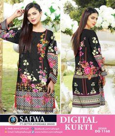 Safwa Brand Digital Stitched Kurti Shirts ,Kameez , 2 Piece and 3 Piece Suits Dresses Online Shopping Pakistan Pakistani Dresses Casual, Kurti Collection, Design Seeds, 3 Piece Suits, Online Dress Shopping, Textile Design, Dresses Online, Designer Dresses, Digital Prints