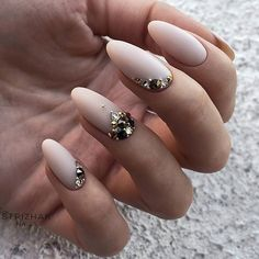 "1,951 Likes, 7 Comments - TheGlitterNail Get inspired! (@theglitternail) on Instagram: ""✨ REPOST - - • - - Matte Pale Nude and Crystals on Oval Nails ⭐ - - • - - Picture and Nail…"""