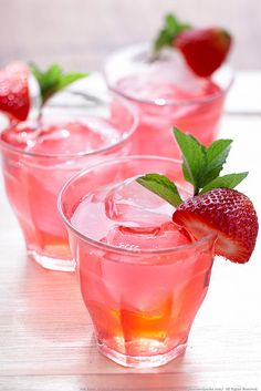 Strawberry tea, looks so pretty and refreshing!