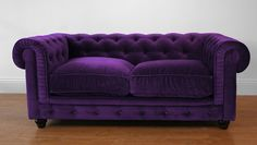 Velvet Chesterfield Two Seat Sofa in Rich Deep Purple