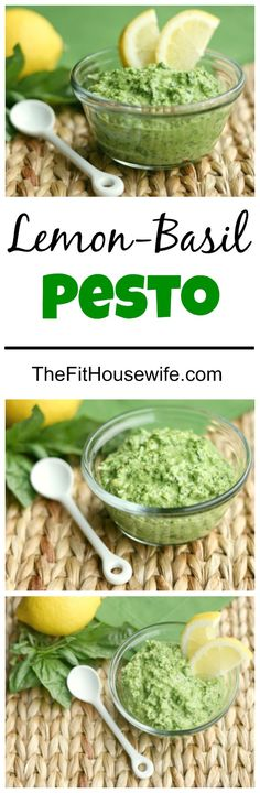 Lemon Basil Pesto. A delicious way to enjoy pesto! All clean eating ingredients are used for this healthy sauce recipe. Pin now to make this healthy pesto recipe later.