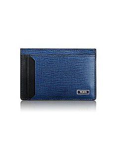 Tumi Monaco Textured Leather Money Clip Card Case - Bright Blue