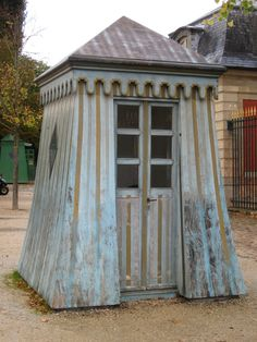 Garden shed in France  scallop on top for porch love colors too! do wider stripe like this, faded out!!!!