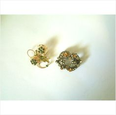 2 FAB VINTAGE RHINESTONE BROOCHES: WREATH WITH FAUX PEARLS & FANCY FLOWERS on eBid United States