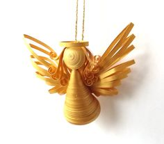 Paper Quilled Angel, Angel Ornament, Quilled Golden Angel, 3D Paper Angel, Christmas Tree Decoration, Christmas Ornament, Paper Quilling