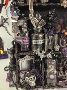 Mixed media Halloween castle configuration box by Anne Rostad