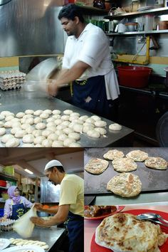 Roti Canai -- originated from southern India, but was modified and made famous by the mamak (Muslim-Indian) hawkers in Malaysia and Singapore. | rasamalaysia.com