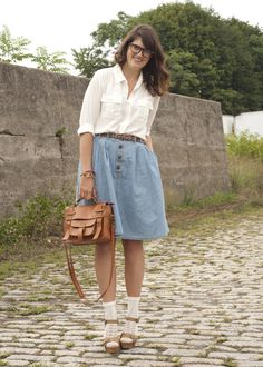 Yeah, love her skirt too. Chambray Skirt, Denim Skirts, School Fashion, New Shoes, Midi Skirt, High Waisted Skirt, Spring Summer, My Style, How To Wear
