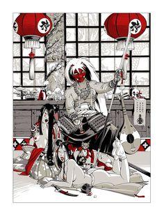 Sérigraphie Hub : Noburo et Geishas Japanese Art Modern, Japanese Artwork, Japanese Tattoo Art, Art Bizarre, Creepy Art, Weird Art, Character Design Animation, Character Art, Art Sinistre