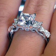 I Like The Sides To Use For My Insert Wedding Band With Princess Cut Engagement Ring Hmmmm Clothes Jewls Pinterest Rings