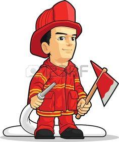 Cartoon of Firefighter Boy Stock Vector