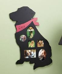 "Personalized Pet Collage Frame (Dog) Listed 11/17/12 by Debbie Ingwerson - Show off favorite photos of your pet pals with these Personalized Pet Collage Frames. The wooden frame is a silhouette of a dog with 6 photo openings ranging from 2-1/2"" x 2-1/2"" to 3-1/2"" x 4"". Clear PVC panels protect each picture. Use a permanent marker (not included) to write your pet's name on the collar, and it makes a terrific tribute to your furry friend. The frame comes ready to hang"