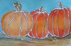 Glue Line Watercolor Pumpkins - outline glue with black sharpie before painting.