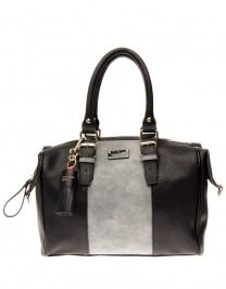 Paul's Boutique Tas - Porter Slouchy Bowler Bag Black and Metallic Grey