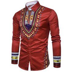 Enjoybuy Mens Shirts Dashiki Button Down Slim Fit Shirt African Ethnic Printed Long Sleeve Dress Shirt African Shirts For Men, African Dresses Men, African Attire For Men, African Clothing For Men, African Wear, Dashiki Shirt, Nigerian Men Fashion, African Men Fashion, Mens Fashion