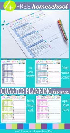 4  Free Homeschool Quarter Planning Forms for homeschool planning and begin building your UNIQUE 7 Step Free Homeschool Planner @ Tina's Dynamic Homeschool Plus
