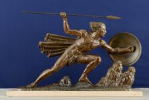 French Art Deco sculpture The Warrior by Bouraine in bronzed and patinated spelter, circa 1920-30.