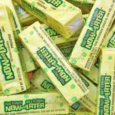 Pineapple Now and Later Candy from Temptation Candy. Now And Later Candy, 80s Candy, Old School Candy, Jelly Belly Beans, Candy Brands, Ice Cream Candy, Green Candy, Oldies But Goodies, Favorite Candy
