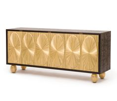 Credenza in Straw Marquetry, Wenge & Bronze See more sideboards by Atelier Viollet: http://atelierviollet.com/sideboards.html