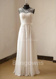Floor Length Jewel Appliques White Sleeveless Chiffon A-line Wedding Dresses