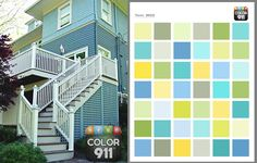 Color91 - instant color help & inspiration!  These house colors were chosen from a color theme in the Color911 app!  Fun & easy to use - #Color911 #color #app Visit Color911.com