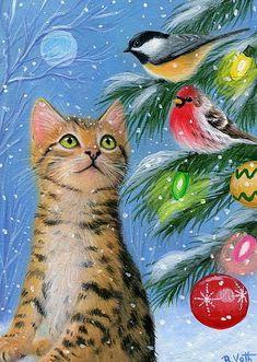 Bengal cat kitten chickadee house finch birds Christmas original aceo painting #Miniature