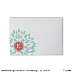 Teal Blooming Blossom with Red Monogram Initial - Personalized Sticky Note Pad - http://www.zazzle.com/k8inked*  #flower #office #gift #stationery