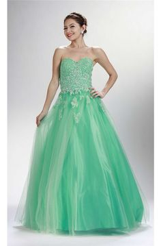 cd599ab5b707 A Line Sweetheart Corset Long Mint Green Tulle Lace Beaded Prom Dress