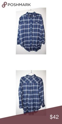 URBAN OUTFITTER FLANNEL loose fitting flannel - good shape - blue red and white - SIZE: S but fits larger Urban Outfitters Tops Blouses