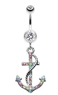Glistening Glass-Gem Anchor Dock Belly Button Ring - 14 GA (1.6mm) - Aurora Borealis - Sold Individually