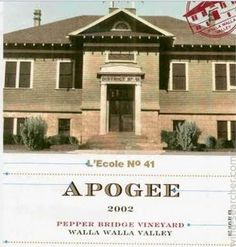 L'Ecole No. 41 Pepper Bridge Vineyard Apogee, Walla Walla Valley, USA 2002 Wine Searcher, Walla Walla, Marketing Data, Wine Tasting, Red Wine, Vineyard, Stuffed Peppers, Wine Labels, Mansions