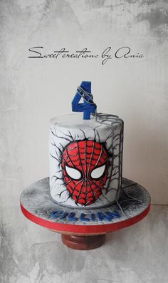 Spiderman cake by Ania - Sweet creations by Ania Spiderman Torte, Spiderman Birthday Cake, 4th Birthday Cakes, Batman Cakes, Novelty Birthday Cakes, Superhero Cake, Novelty Cakes, Spiderman Cookies, Spiderman Cake Topper