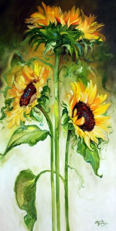 TRIPLE SUNNY SUNFLOWERS by Marcia Baldwin From my Floral Abstract series 2010 this original oil painting depicts 3 lovely and huge sunflowers fresh from my garden Sunflowers shout Happiness Brighten you day Joy to what lies ahead E Art Floral, Watercolor Flowers, Watercolor Paintings, Watercolors, Body Painting, Sunflower Art, Sunflower Paintings, Paintings Of Sunflowers, Oeuvre D'art