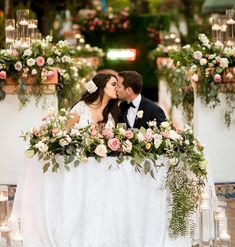 I'm on a quest to surround all my couples with flowers. And isn't Jenna just brilliant for setting all her RLL couples in… Wedding Photos, Wedding Day, A Perfect Day, Sweetheart Table, Plan Design, Cute Couples, Floral Wedding, Table Decorations, How To Plan