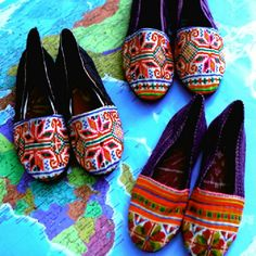 Super cute Hmong shoes!  http://goodsie.com/store/this-is-not-a-mall/floral-weave-hilltribe-kungfu-slippers