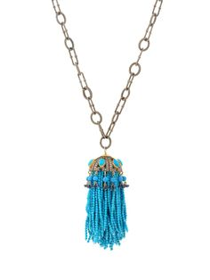 Randi Elyse Sterling Silver Textured Link Chain with Turquoise Tassel Pendant. Available at London Jewelers!