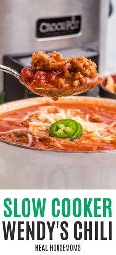 Slow Cooker Chili, Slow Cooker Recipes, Crockpot Recipes, Chili Recipes, Paleo Recipes, Wendys Chili, Copykat Recipes, Crock Pot Soup, Soups And Stews