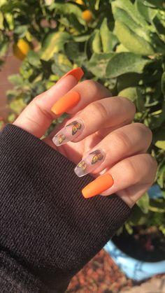 Orange Acrylic Nails, Bling Acrylic Nails, Acrylic Nails Coffin Short, Simple Acrylic Nails, Square Acrylic Nails, Best Acrylic Nails, Orange Nails, Matte Nails, Dope Nails