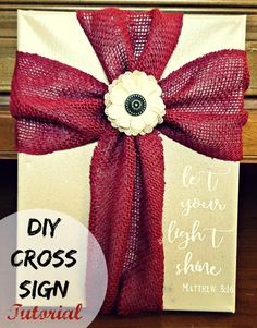 Make this easy diy fabric cross sign tutorial. Step by step directions! (fun and easy diys signs) Burlap Cross, Burlap Ribbon, Fabric Ribbon, Red Ribbon, Zoe S, Cross Art, Cross Crafts, Wall Crosses, Wooden Crosses